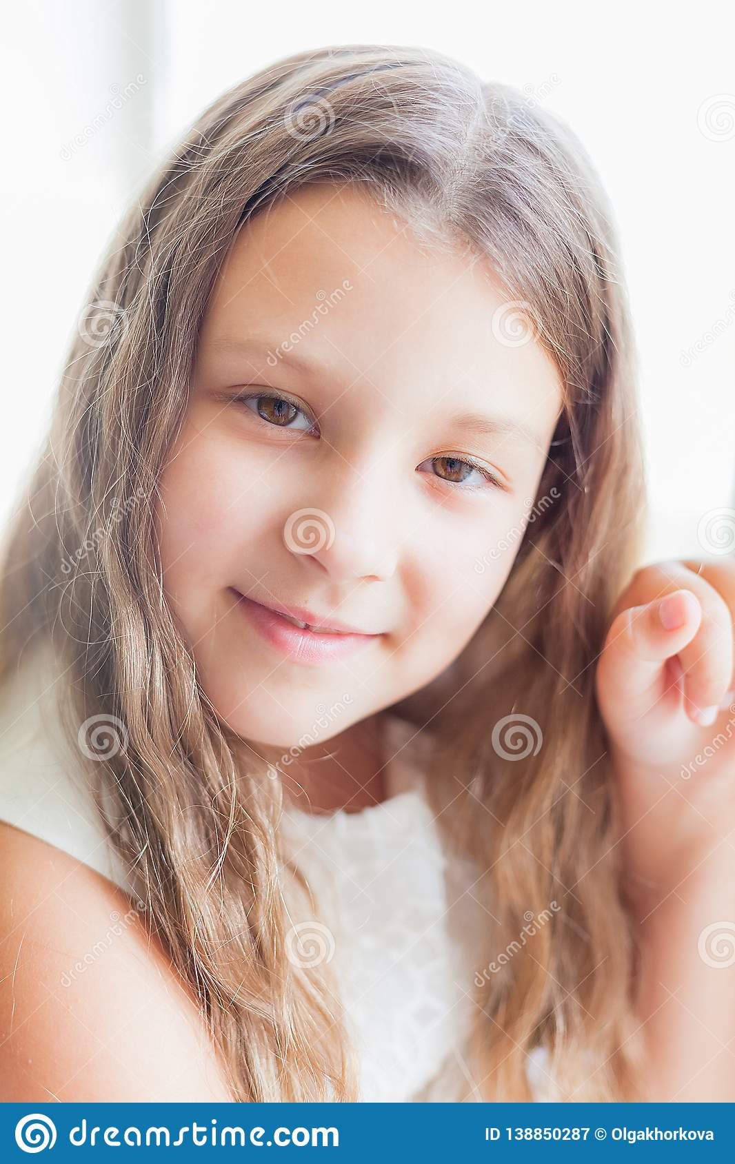 9b2a8530a Portrait Of Pretty Little Girl In White Dress Stock Image - Image of ...