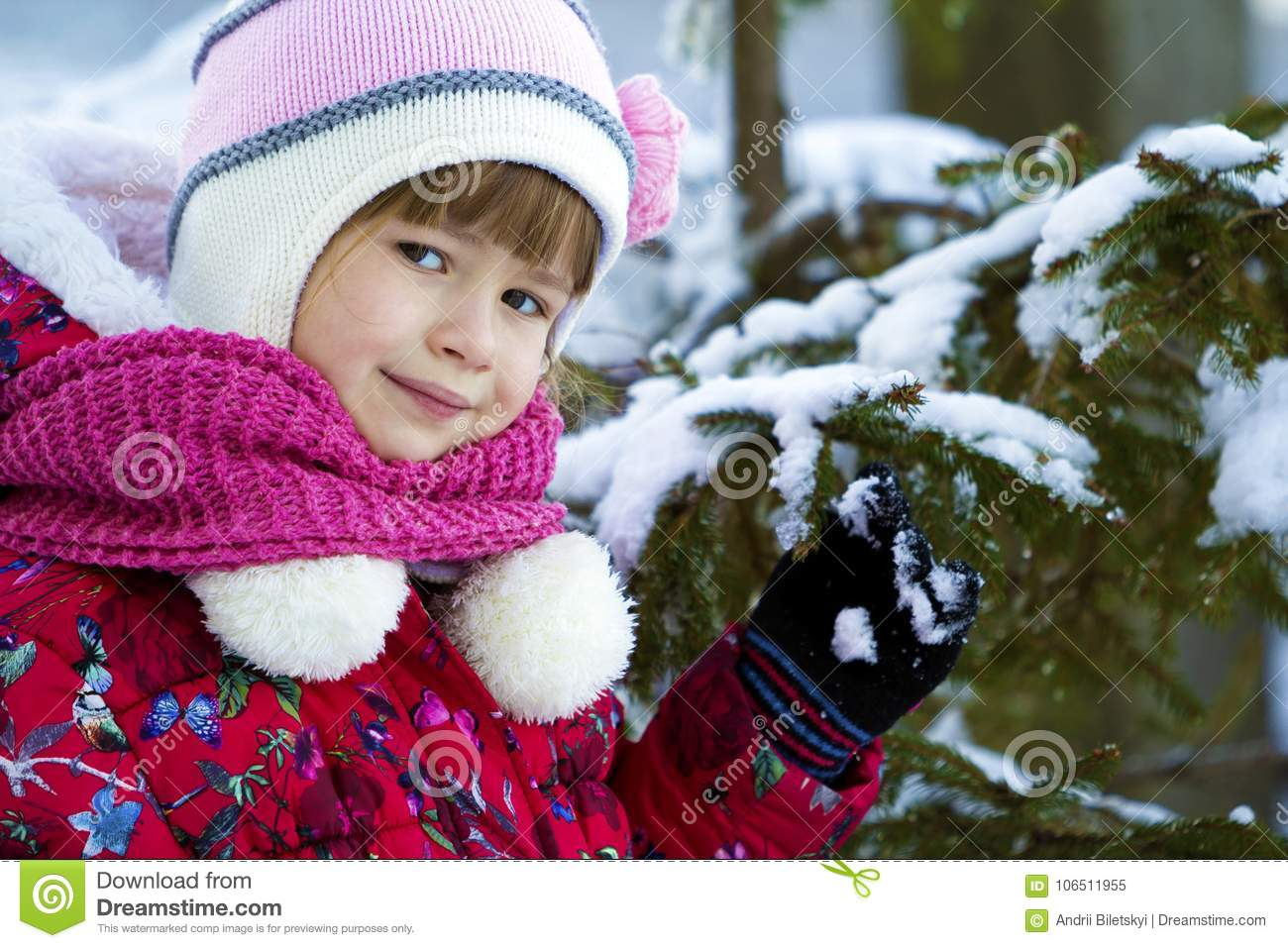 2398fefc2 Portrait Of Pretty Little Girl In Winter Clothes Near Snow Cover ...