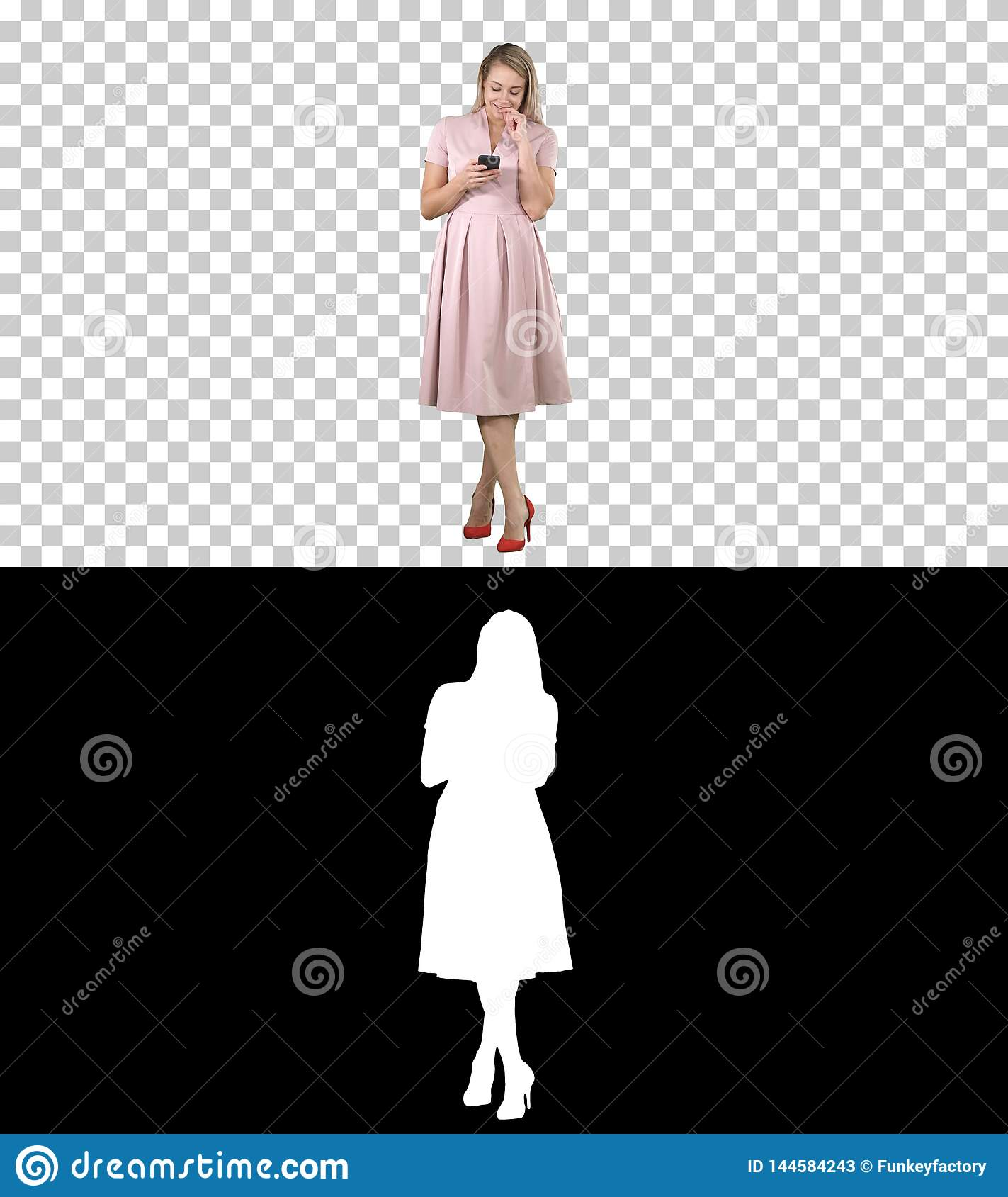 Portrait of a pretty smiling girl in summer clothes using mobile phone, texting message, Alpha Channel