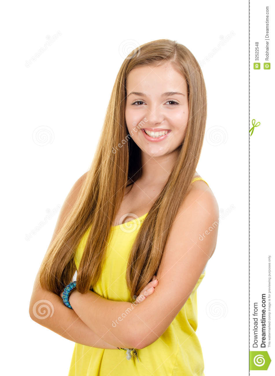 Portrait Of Pretty, Teen Girl Smiling Stock Photo