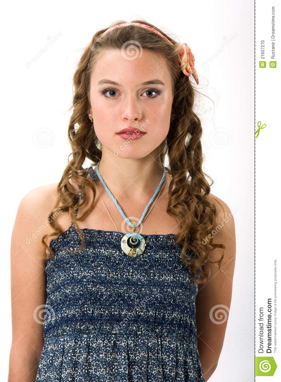 Portrait of a pretty young girl with long ha