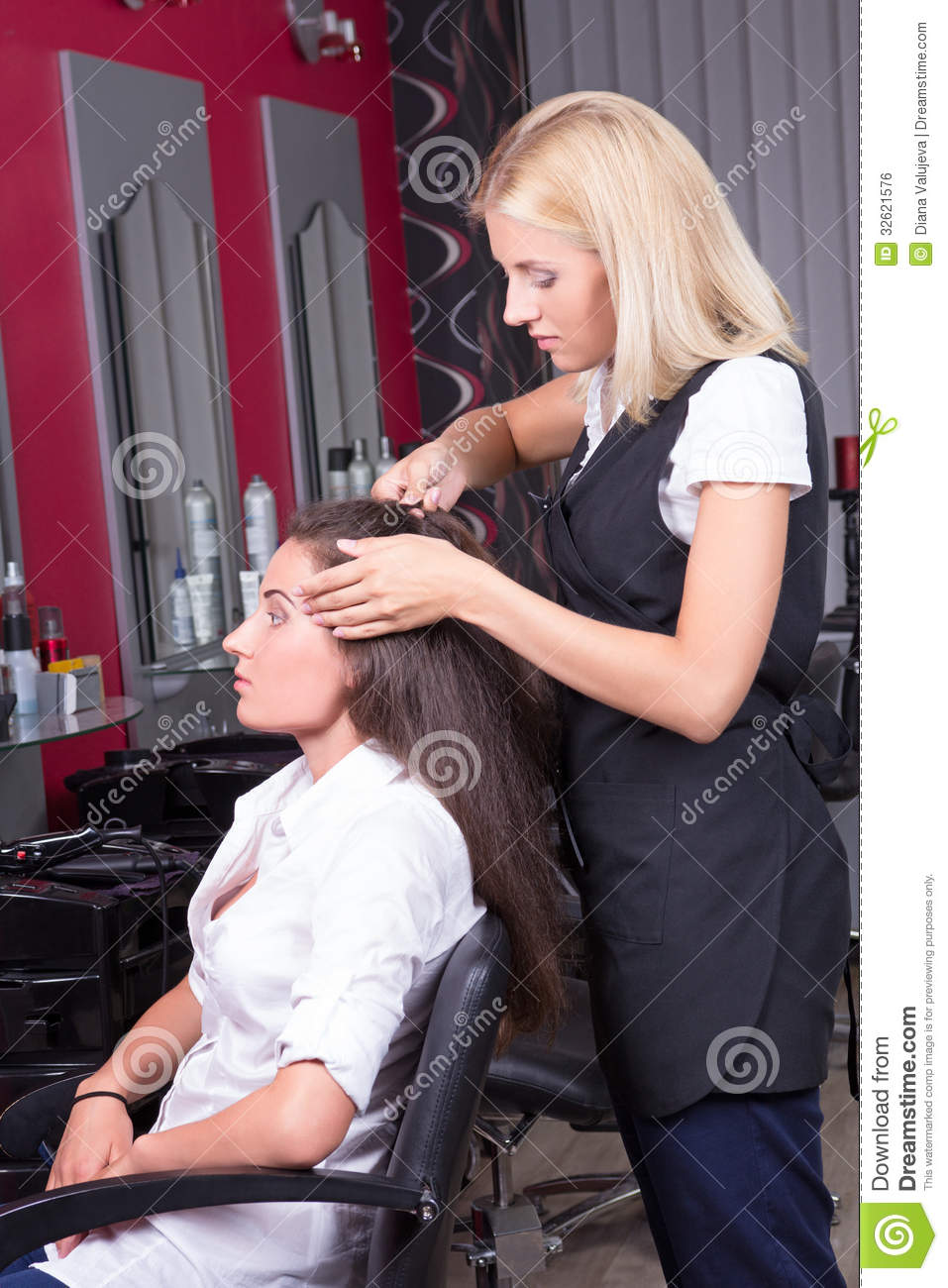 portrait of professional hairdresser at work in beauty