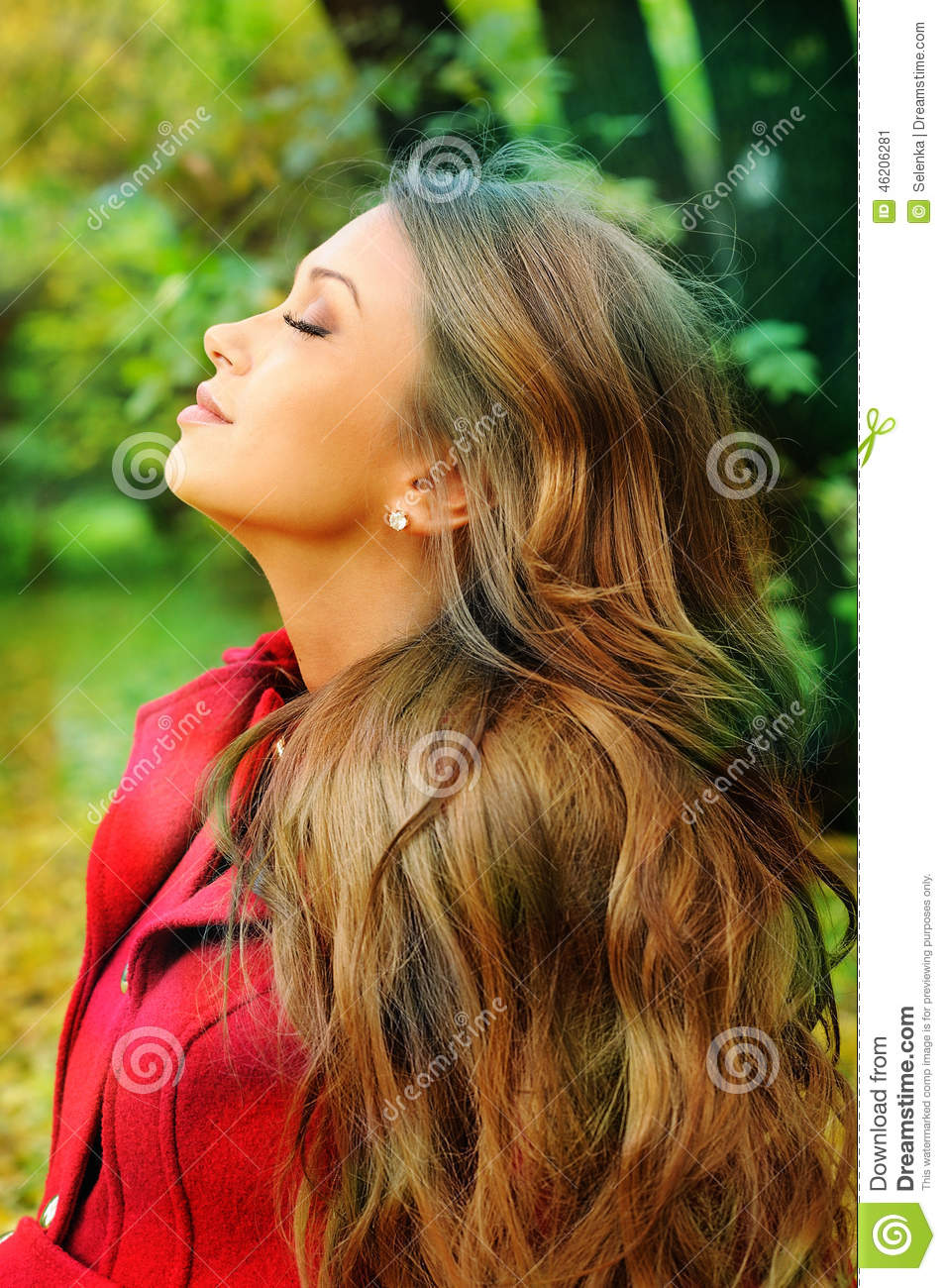 portrait in profile of a young beautiful girl resting in a