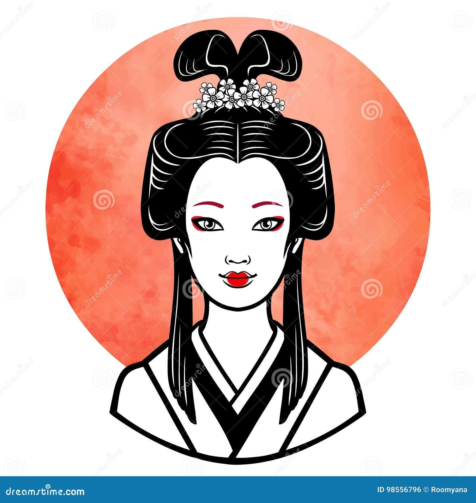 Portrait Realiste De La Jeune Fille Japonaise Une Coiffure Antique