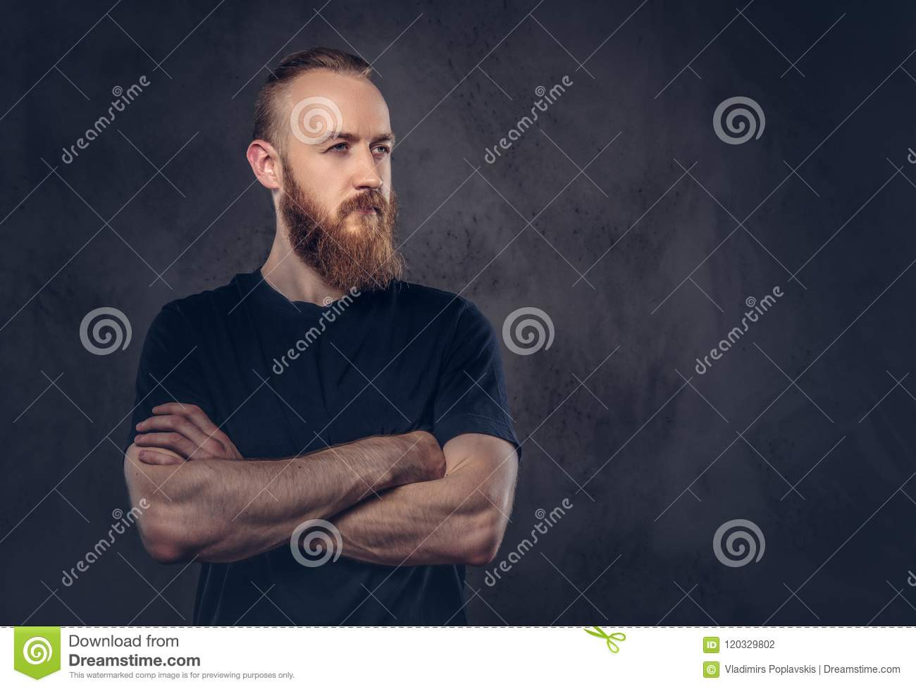 Portrait of a redhead bearded man dressed in a black t-shirt standing with crossed arms. Isolated on a dark textured