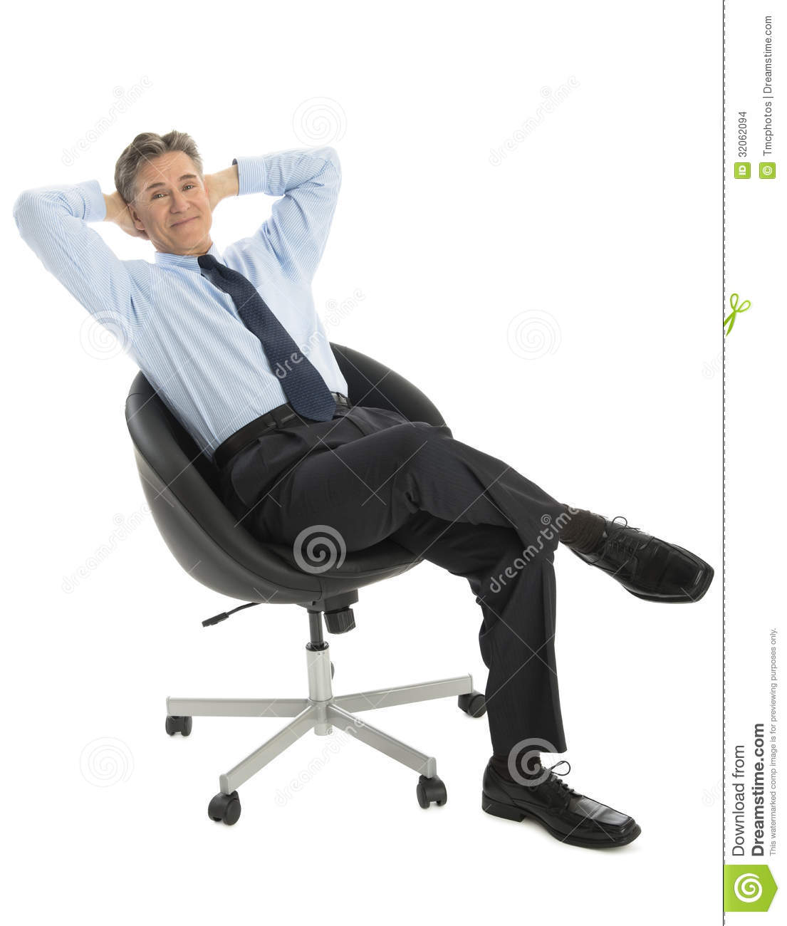 Sitting Chair: Portrait Of Relaxed Businessman Sitting On Office Chair