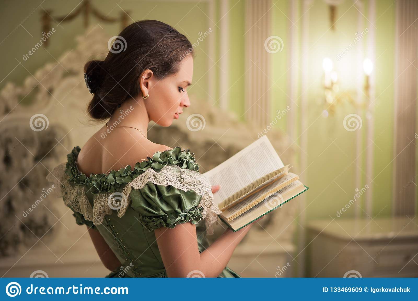 Portrait of retro baroque fashion woman