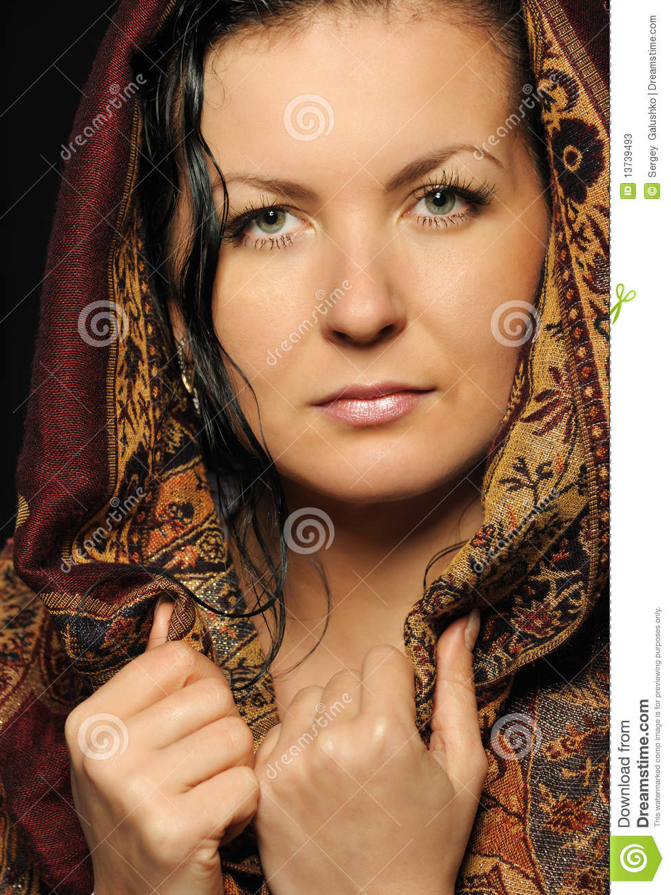 Portrait russian attractive woman with shawl