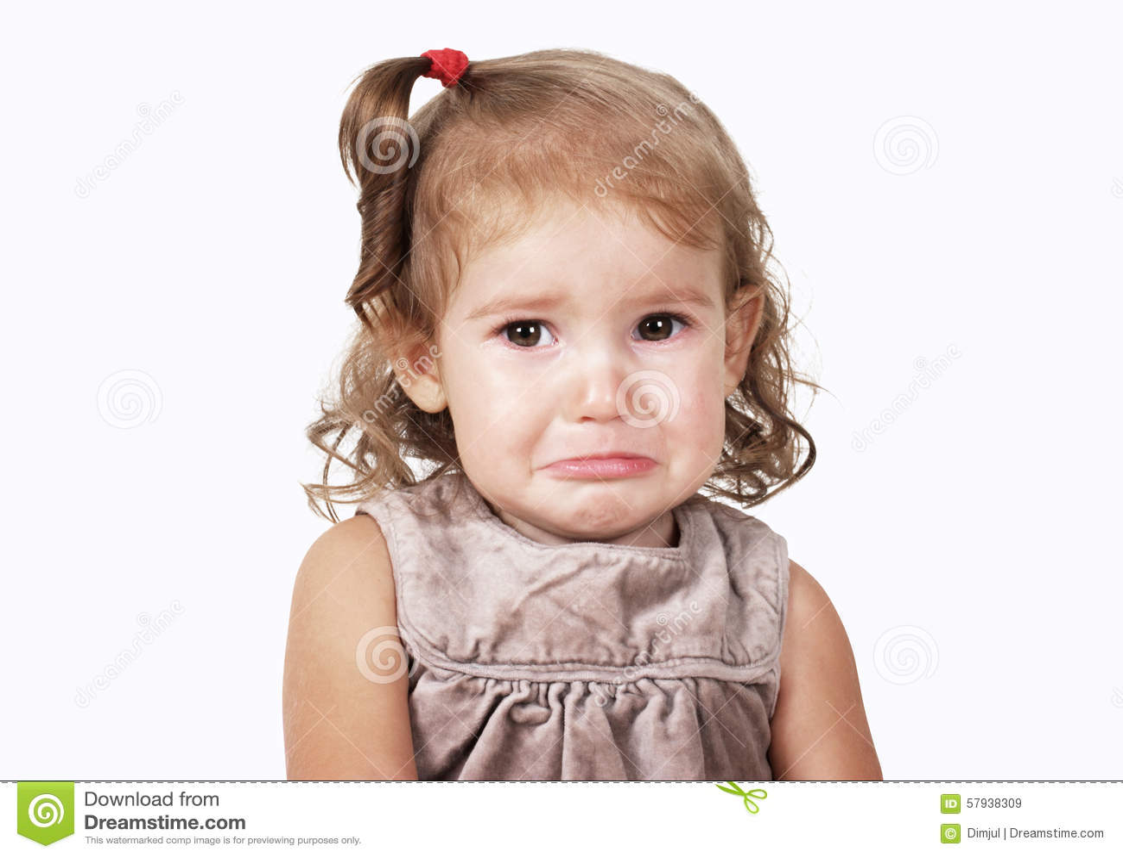 portrait of sad crying baby girl isolated on white stock