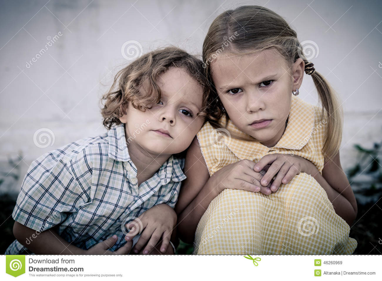 Portrait Of Sad Little Girl And Boy Stock Image - Image Of Lost, Pain 46260969-5713