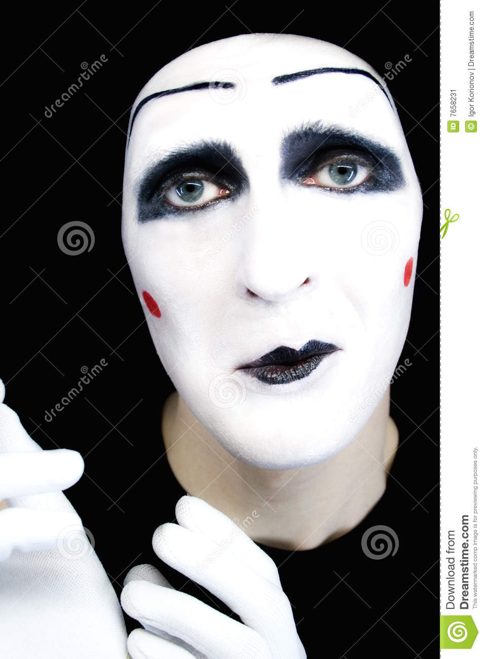 d0a1fc92e86 Portrait Of Sad Mime In White Gloves Stock Image - Image of mimic ...