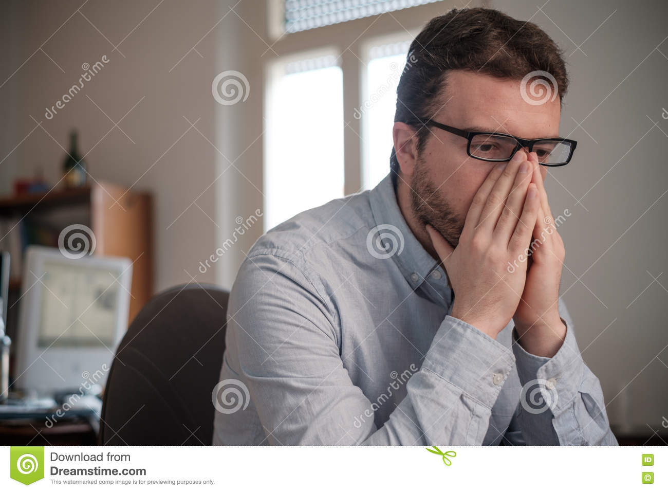 Portrait Of Sad Office Worker Stock Photo - Image of ...