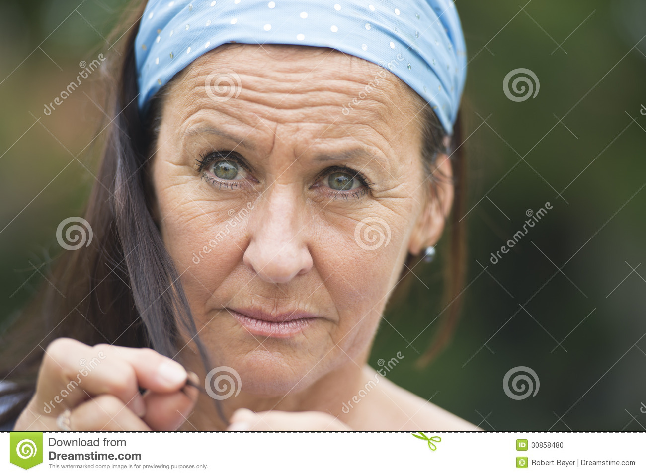 Portrait Sad Thoughtful Depressed Woman Stock Photo ...