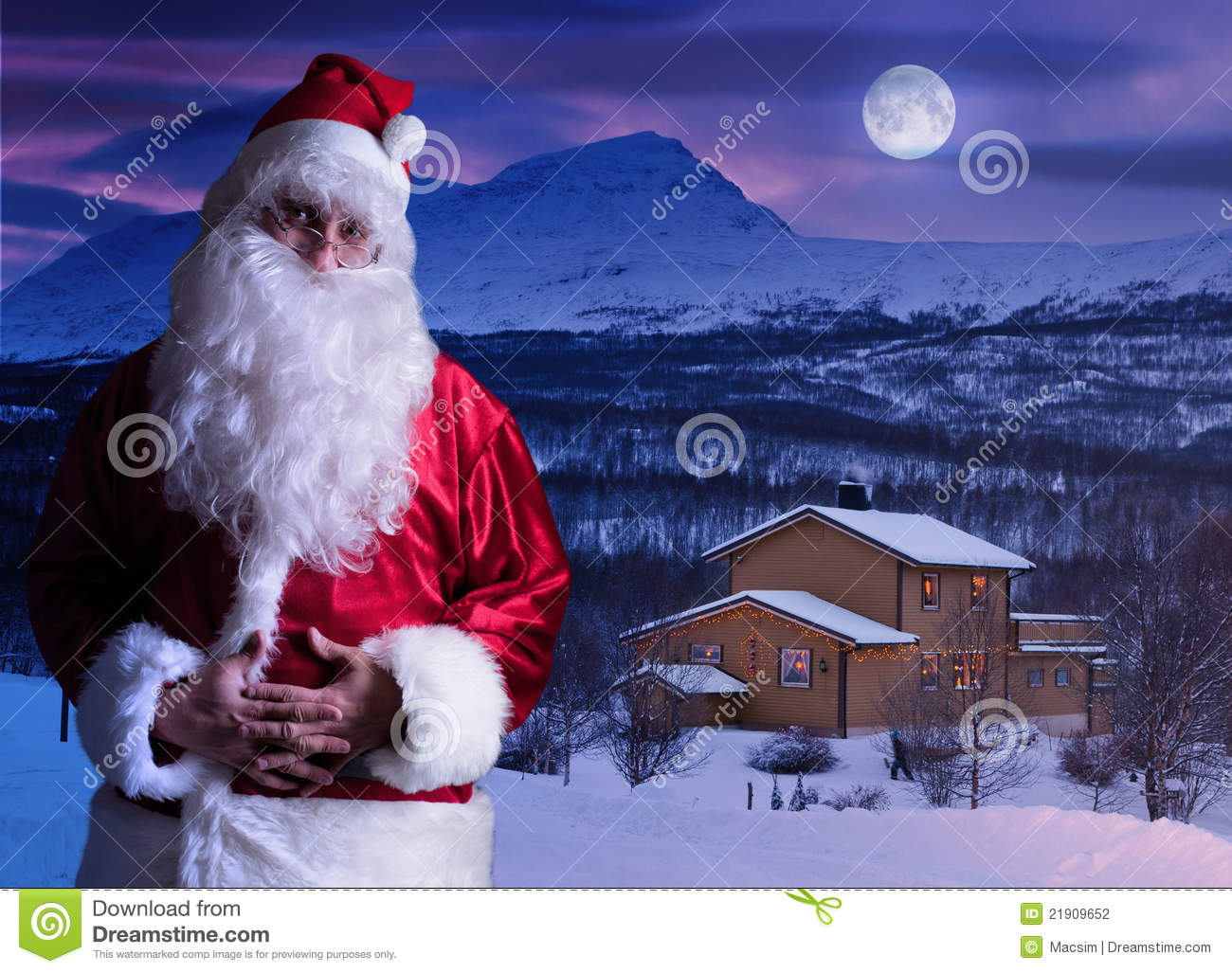 Portrait Of Santa Claus At The North Pole Stock