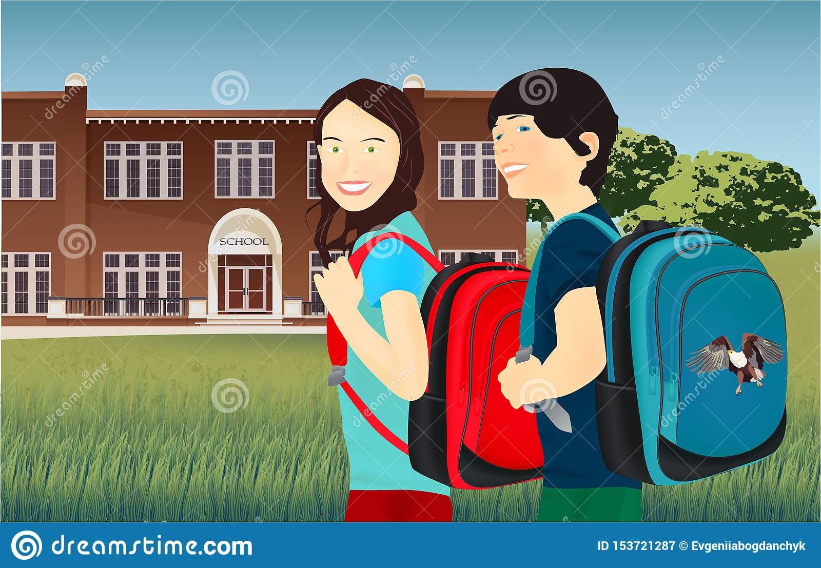 Portrait of schoolgirl and schoolboy with a backpack