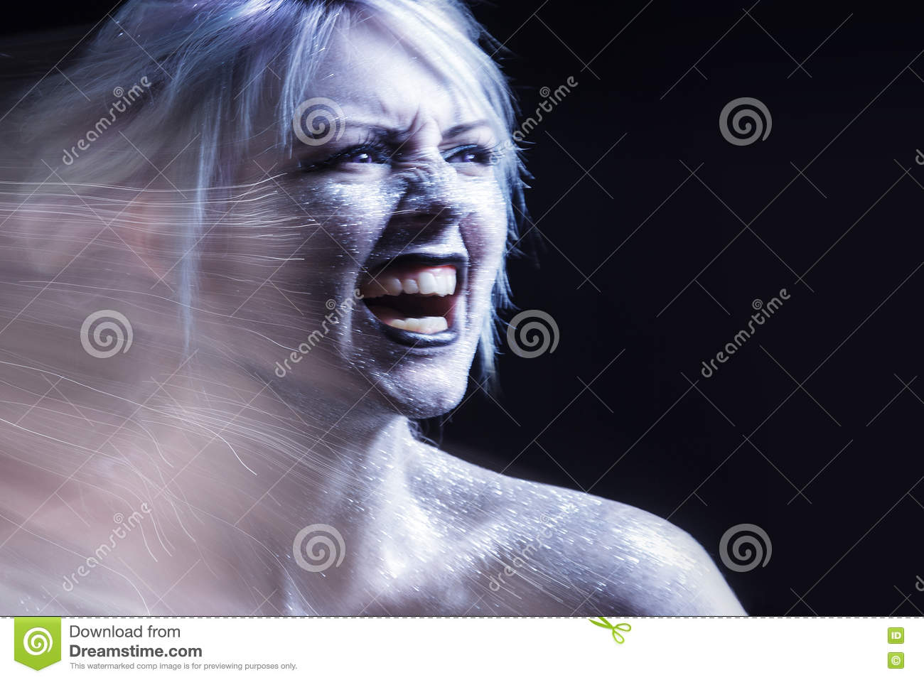 Portrait Screaming Woman Bright Neon Fashion Makeup Creative Body Art Effect Of Movement Stock Photo Image Of Sensuality Effect 75379474