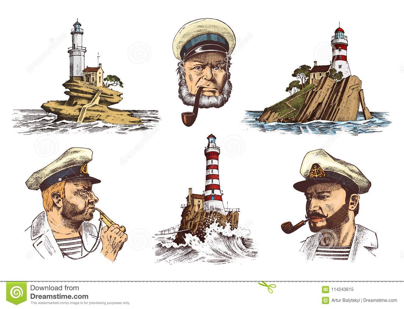 Portrait Of A Sea Captain. Marine Old Sailor And Lighthouse ... 62521be23da