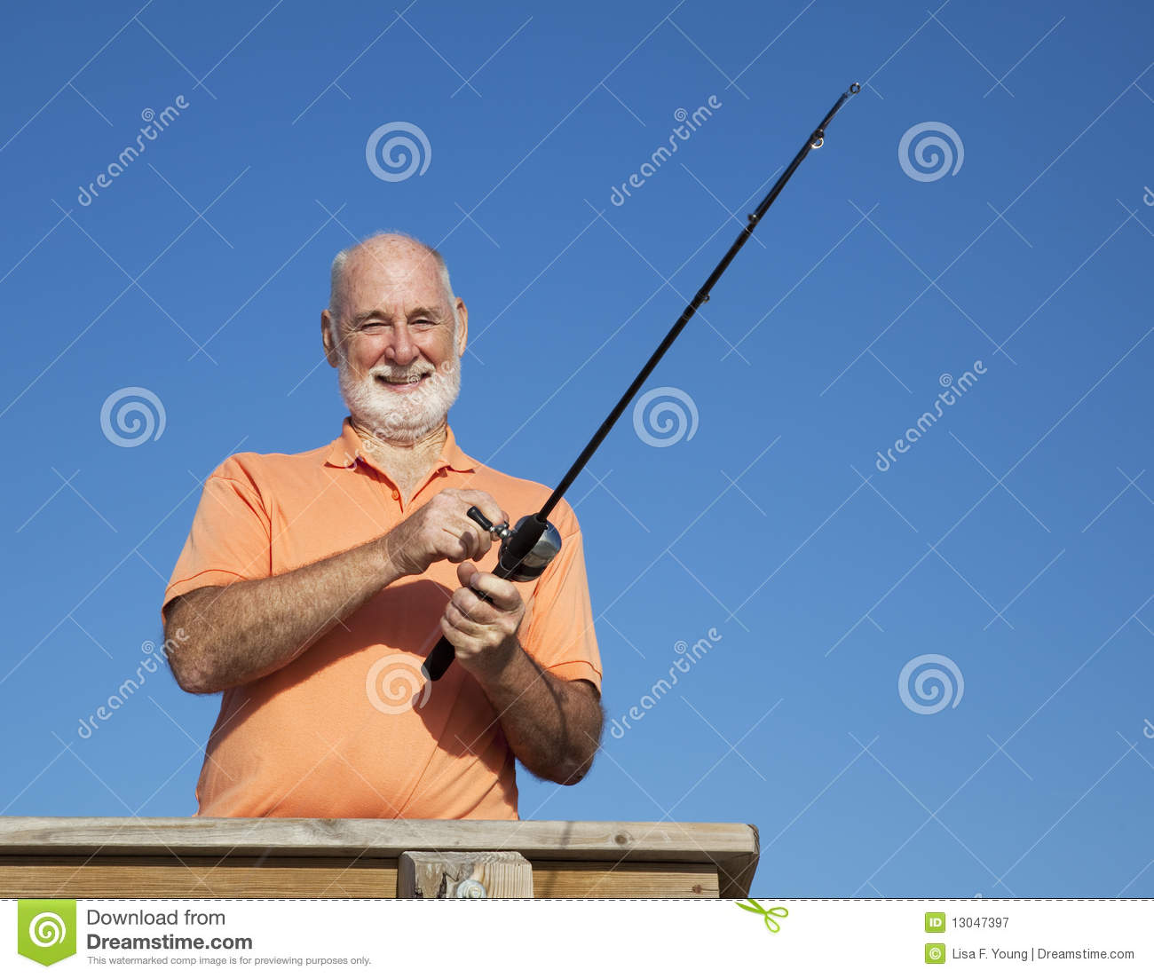Portrait of senior fisherman stock image image 13047397 for Florida fishing license for seniors