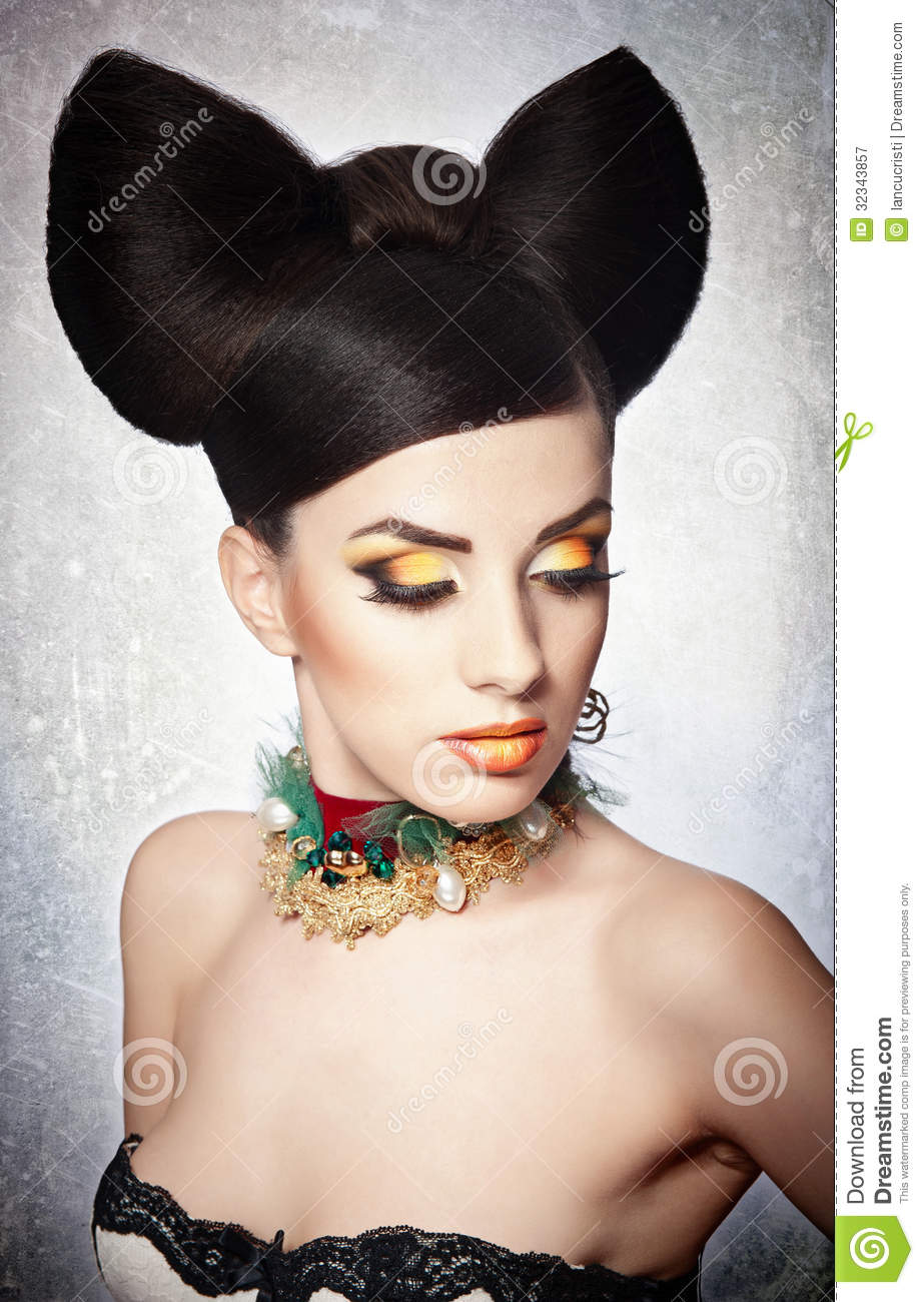 Portrait Of Sensual Woman Model With Luxury Makeup And
