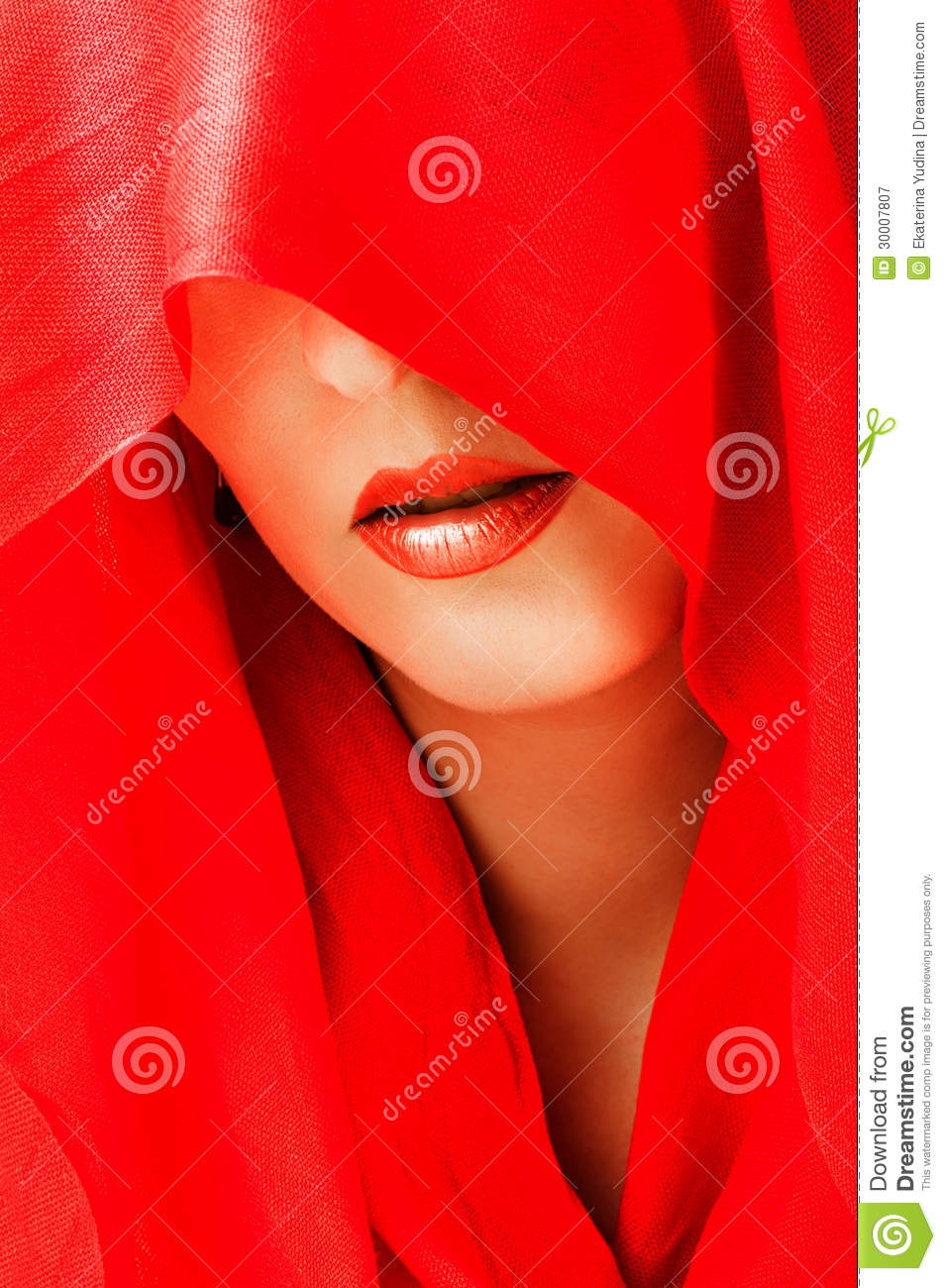 Red Scarf Covered With White Stars