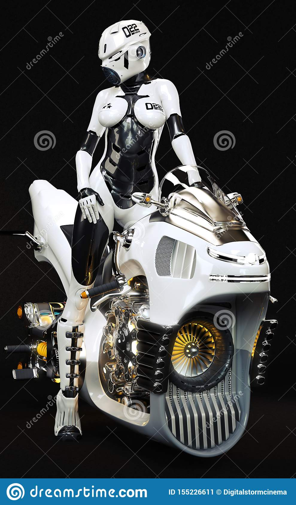 Portrait of a futuristic science fiction female posing on her sleek hover jet bike with a black background.