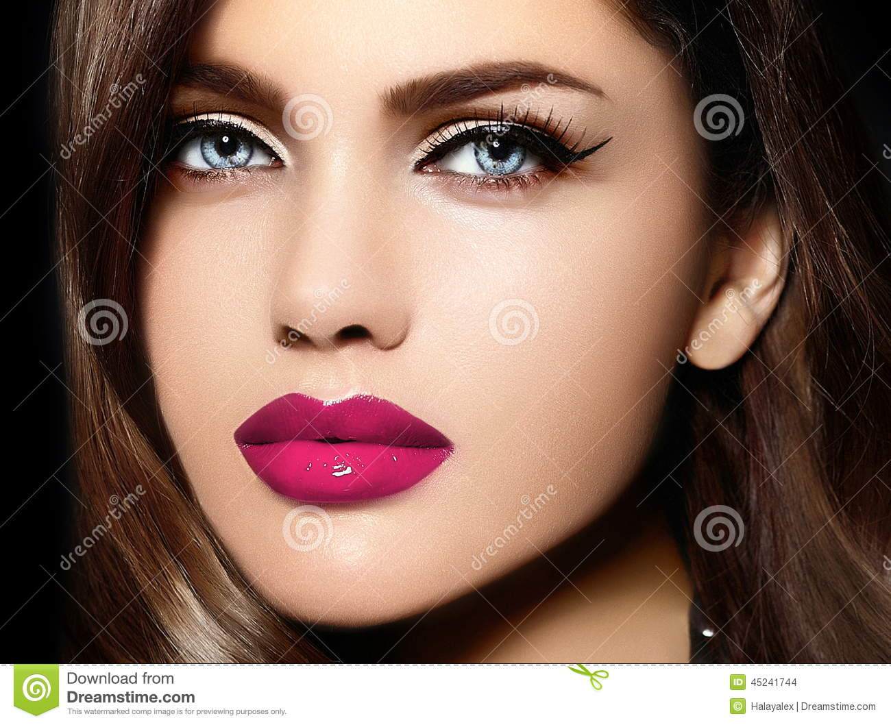 Portrait of model woman with colorful lips perfect skean