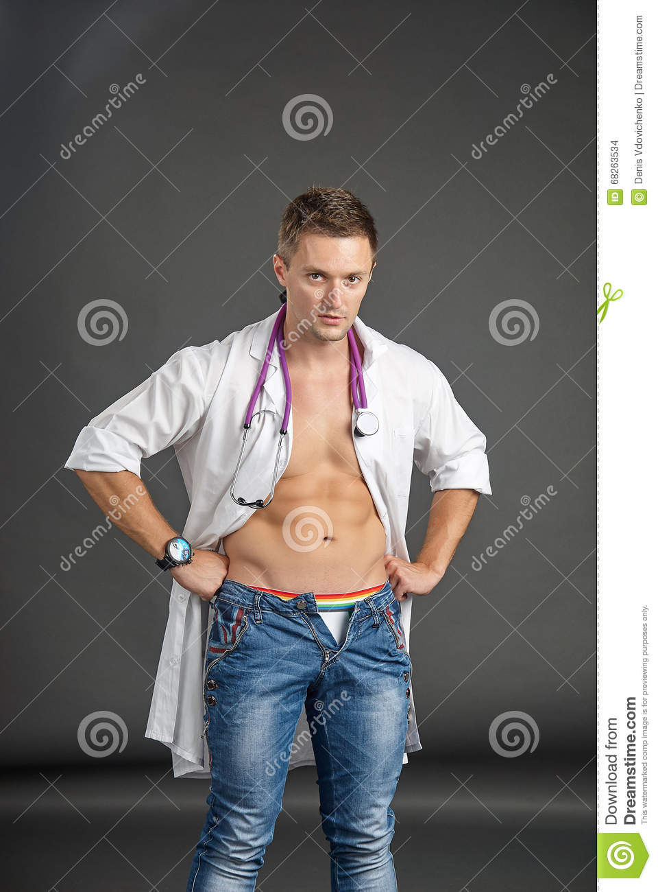 Portrait of a young man in doctor costume
