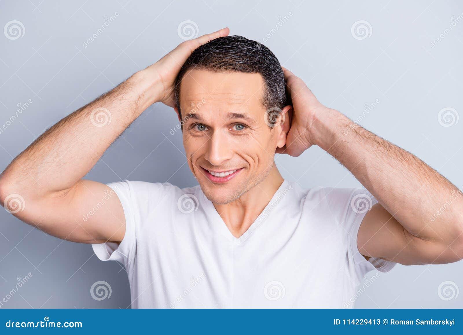 Portrait of shaven, experienced, neat, trendy, brunet, positive