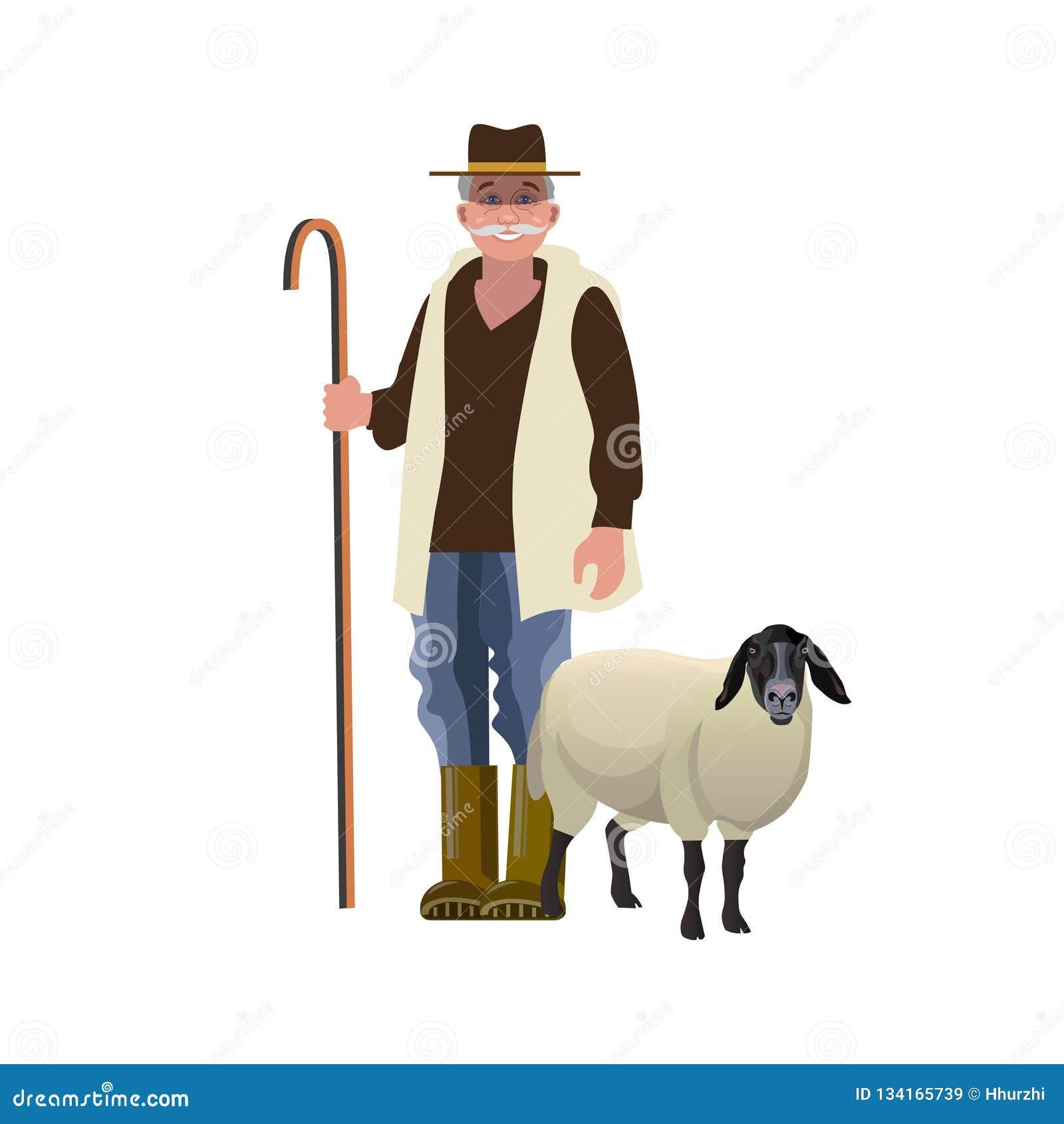 Shepherd with a sheep