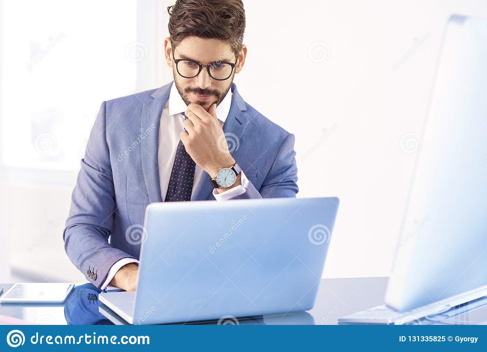 Investment Advisor Businessman Thinking While Sitting In