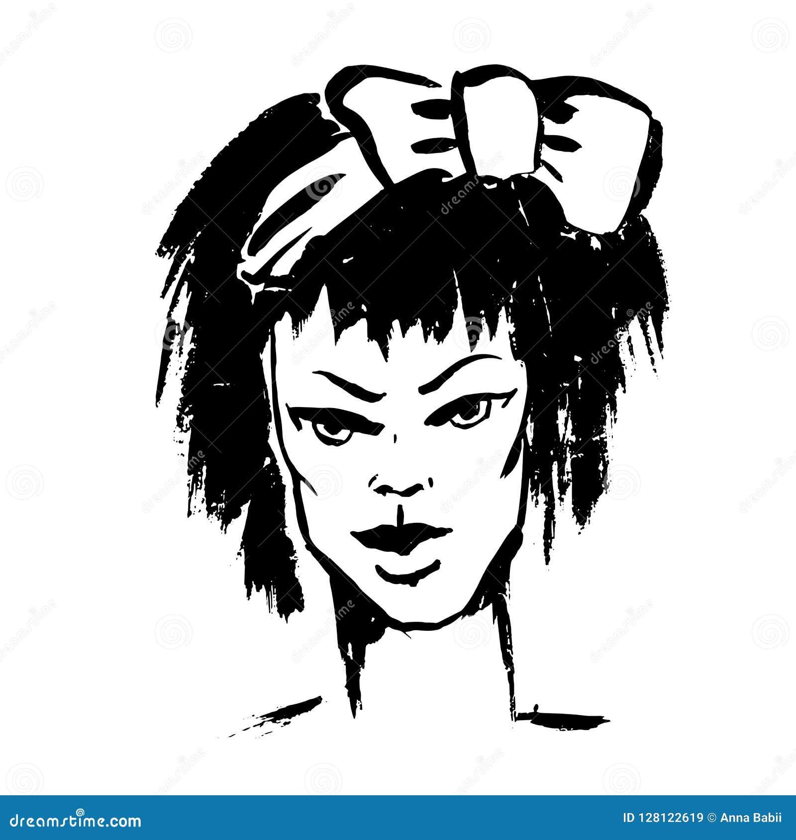 Portrait Simple De Style Grunge De Brosse Fille Avec Larc