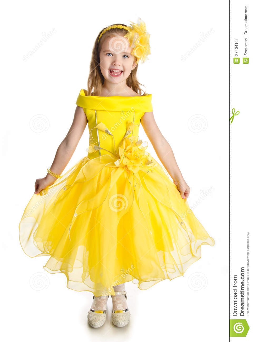 Portrait Of Singing Little Girl In Princess Dress Royalty Free ...