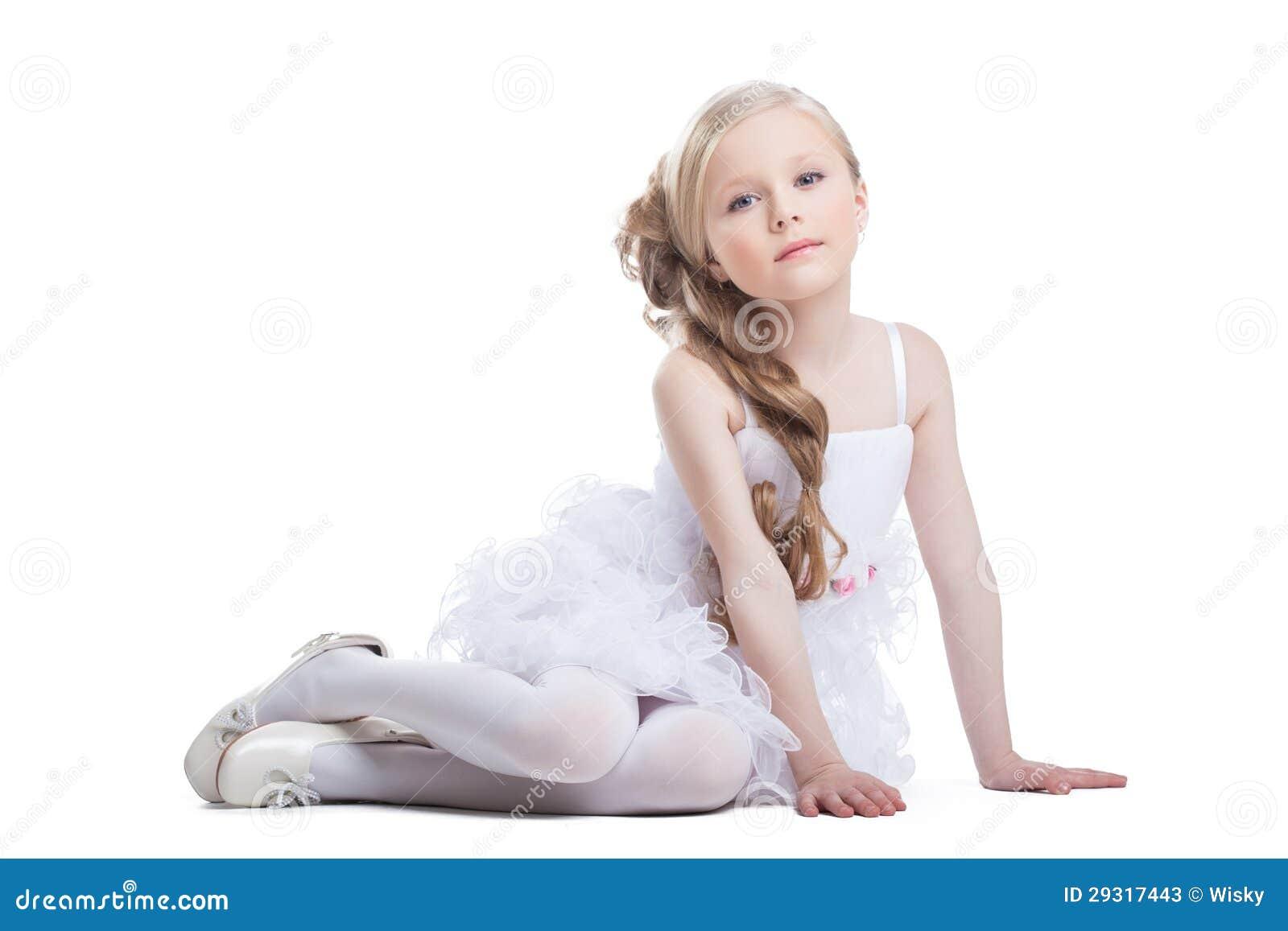 Portrait Of Sitting Pretty Girl In White Dress Stock ...