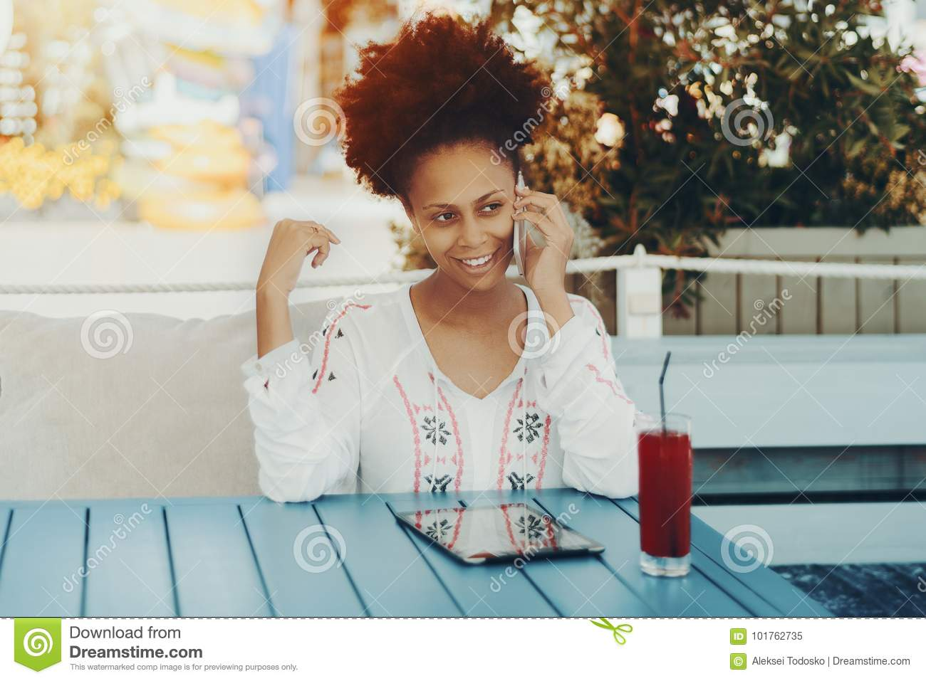 Black lady on phone
