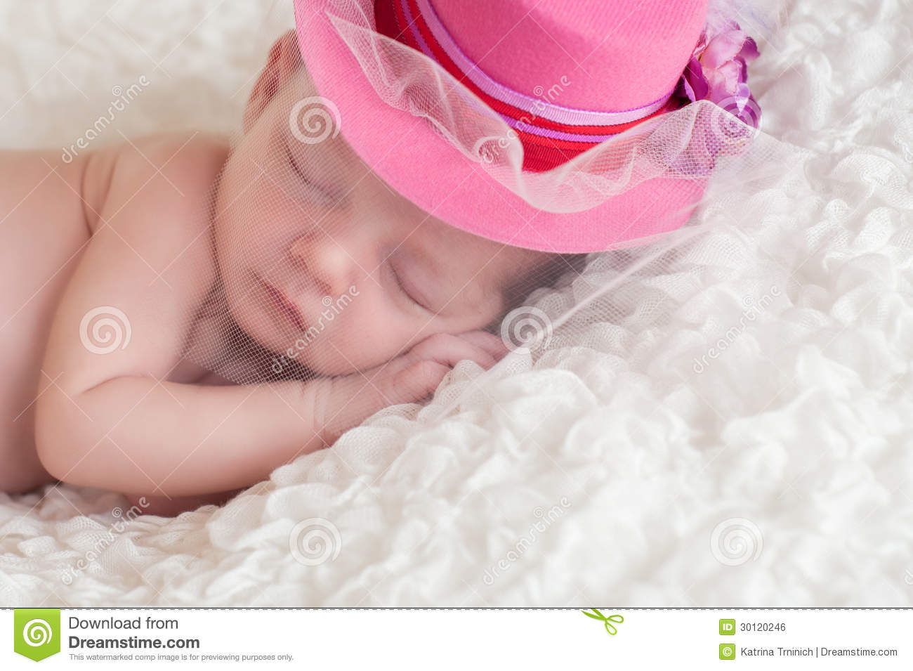 Newborn Baby Girl Wearing A Fancy Pink Hat Stock Photo - Image of ... 9b4f13f8f9d1