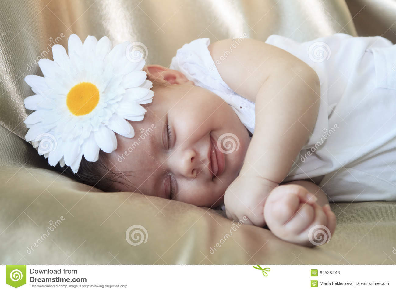 Portrait Of Sleeping And Smiling Baby Girl Stock Photo Image Of Cozy Caucasian 62528446