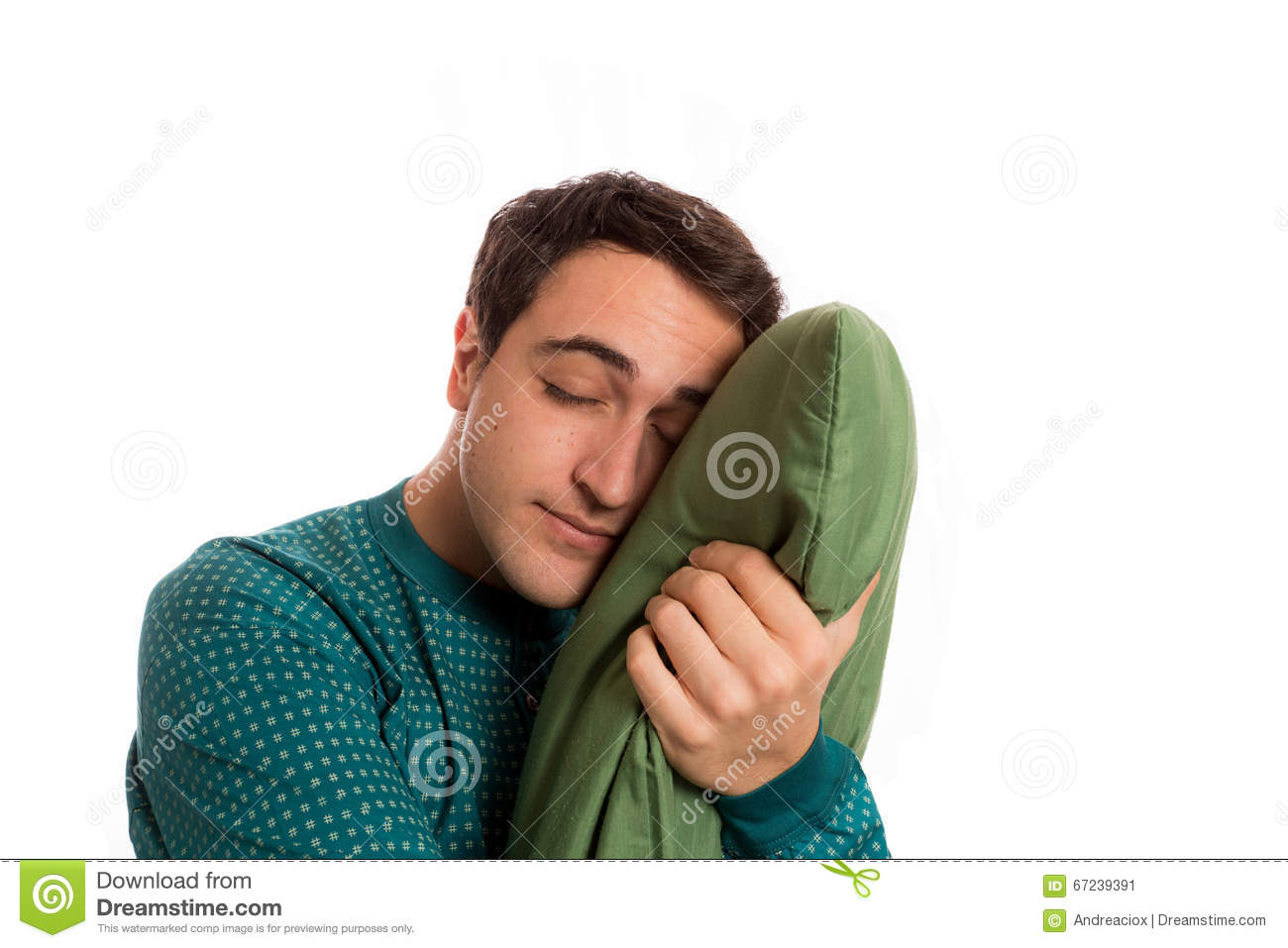 6802249d785 Portrait Of A Sleepyhead Man In Pajamas With Its Beloved Pillow ...