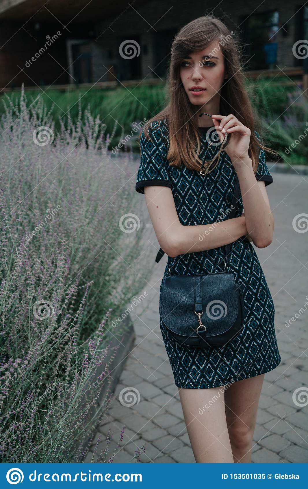 Portrait Of Slim Tall Girl In Green Dress Stock Image - Image of ...