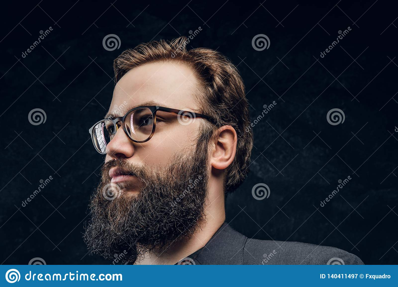 fe66679abcbd Portrait Of A Smart Bearded Man In Glasses In A Dark Studio Stock ...