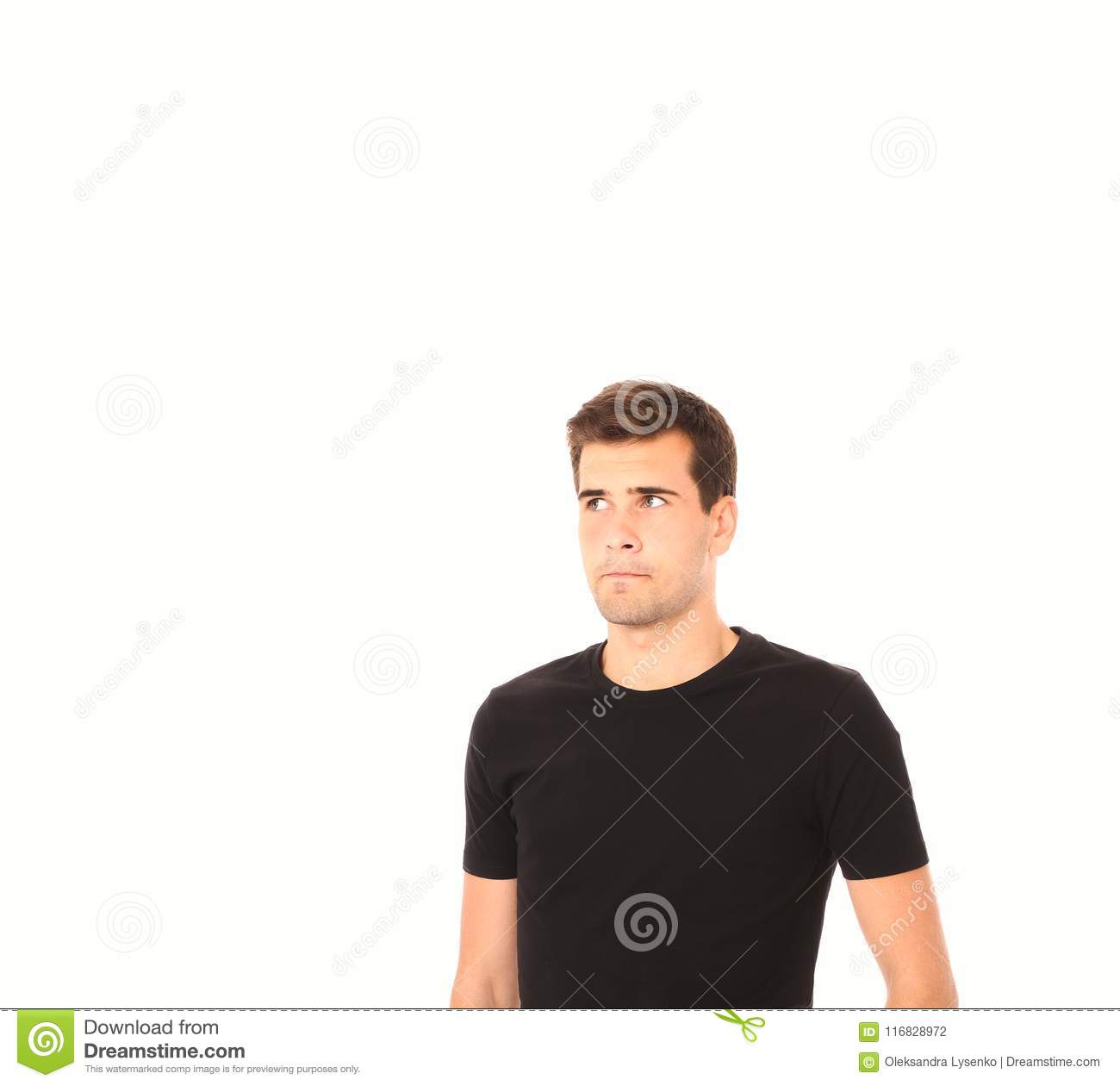 a1559fad3565 Portrait of smart thinking young man in black shirt isolated on white. Copy  space.