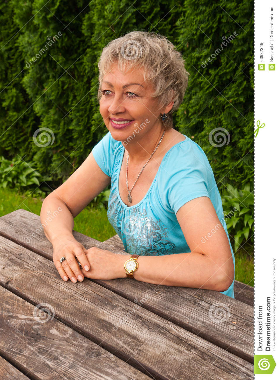 Portrait of smiling aged woman