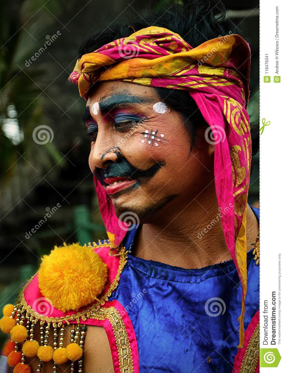 Balinese Guard with Painted Face and in Traditional Costume