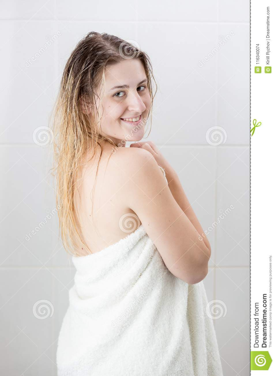 Woman In Shower And Bathroom Not Nude Stock Photos & Woman