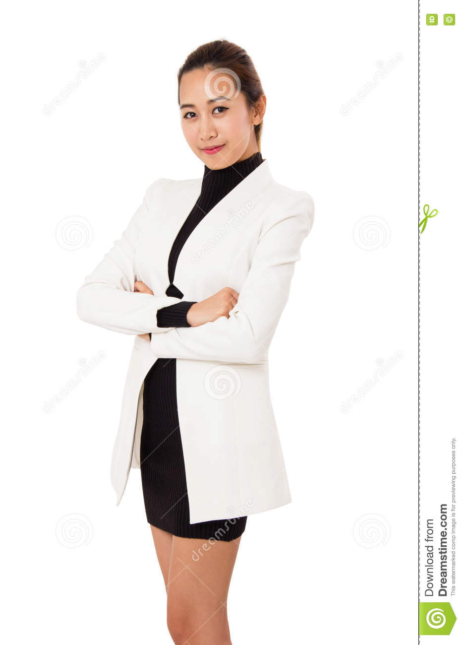 Portrait Of Smiling Business Woman Is Standing And Cross ...