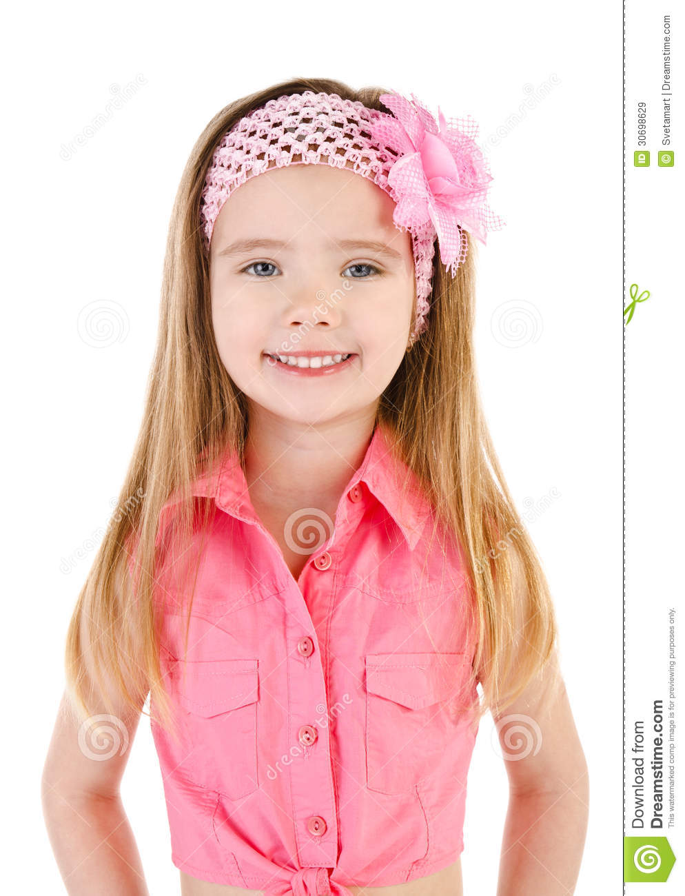 Portrait Of Smiling Cute Little Girl Isolated Royalty Free Stock ...