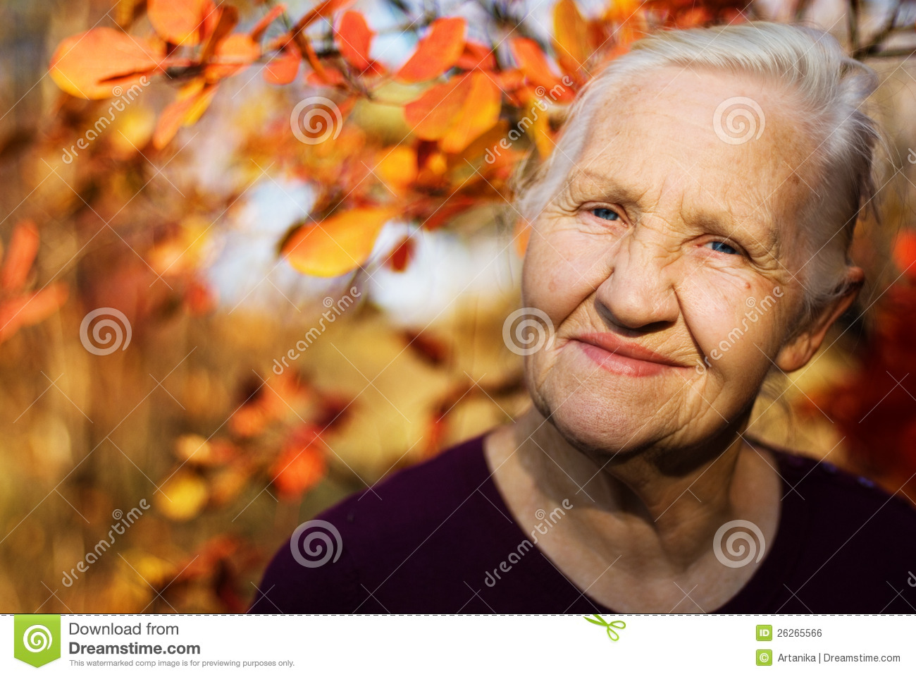Portrait of the smiling elderly woman