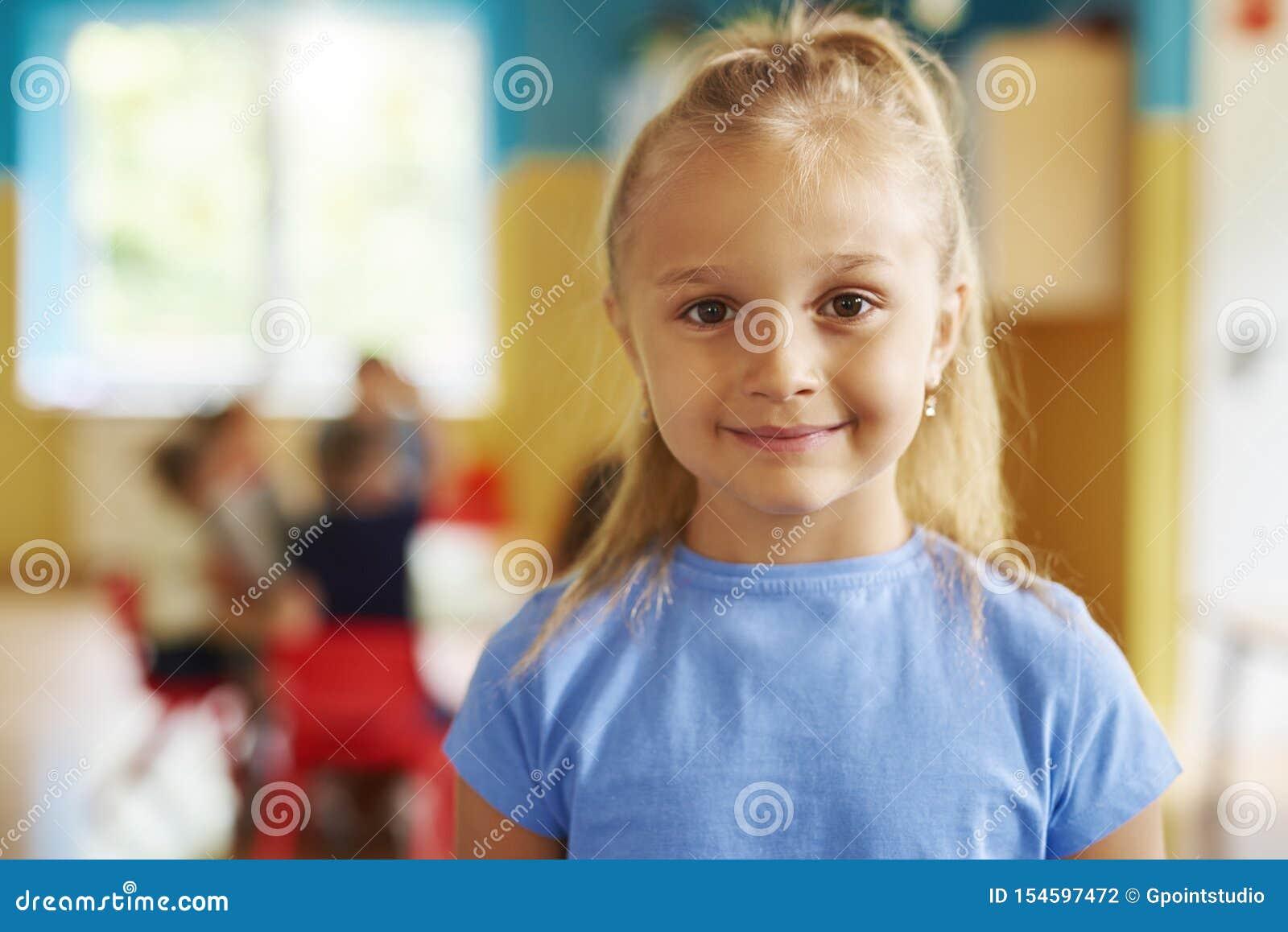 Portrait of happy preschool girl