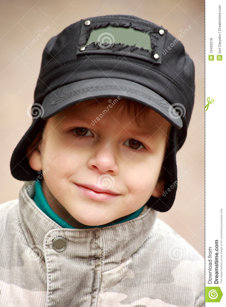 41545536ab2 Portrait Of A Smiling Little Boy In Hat Stock Photo - Image of ...