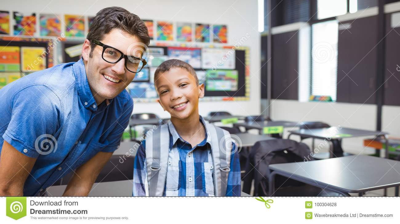 Composite image of portrait of smiling male teacher with student