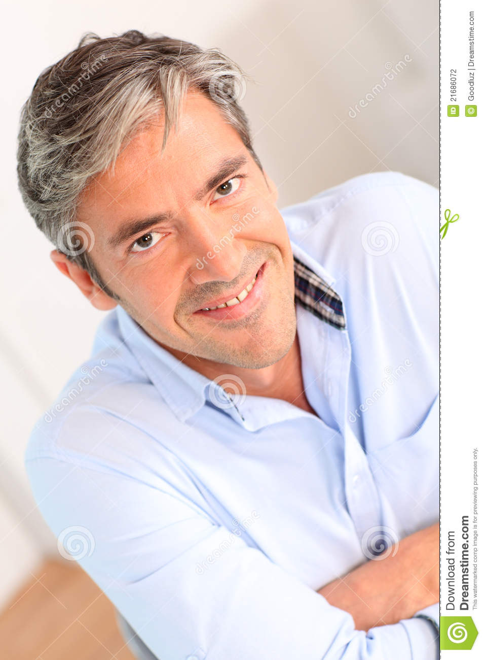 Portrait Of Smiling Man With Grey Hair Stock Photography - Image ...